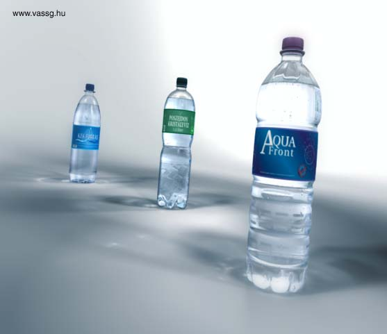 final render of mineral water bottles